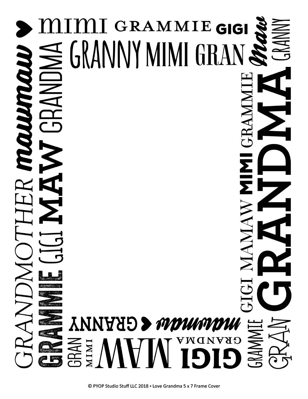 Love Grandma 57 Frame Pyop Studio Stuff